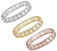 14k Gold Round Cut White Natural Diamond 14K Gold Bangle Bracelet