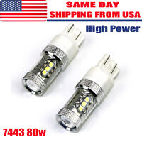 2x 6000K White 7443 7440 High Power 80W Tail Brake Backup Reverse LED Light 7440