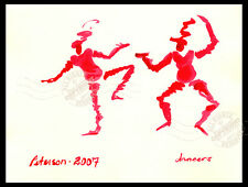 2 Happy RED Dancer in SILLY Hats 2007 ORIGINAL WATERCOLOR PAINTING SIGNED