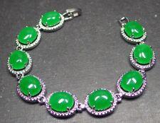 Gold Plate ICY Green JADE Cabochon Bangle Bracelet Diamond (Imitation) 310354