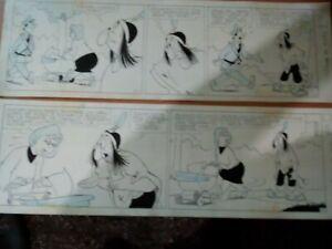 ORIGINAL arte comics, 2 tira de Patoruzu comics- CARICATURA  ARGENT DANTE QUIN.