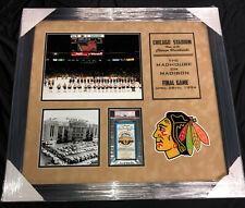 1994 CHICAGO STADIUM BLACKHAWKS FINAL GAME TICKET PSA EX 5 FRAMED PIECE 28x26