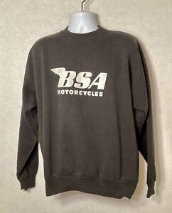 Vintage 90s BSA Motorcycles Black/White Sweatshirt Hanes - Size XL (46-48)