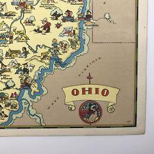 Ruth Taylor Original Cartoon Map Ohio 1935 Color Litho Buckeyes Spartans Bobcats