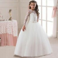 Long Sleeve Formal Party Dress Princess Wedding Evening Dresses Kids Dress