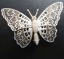 vintage SILVER pierced open work butterfly bug brooch pin -N42