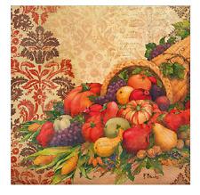 DAMASK CORNUCOPIA 20 Fall Luncheon Paper Napkins by IHR - Thanksgiving, Pumpkins