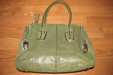 B. MAKOWSKY~WHITNEY~Shimmer Snakeskin Embossed Leather Moss/Gold Satchel~EUC
