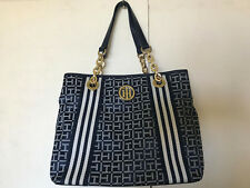 NEW! TOMMY HILFIGER BLUE SATCHEL SHOPPER GOLD CHAIN TOTE BAG PURSE $108 SALE
