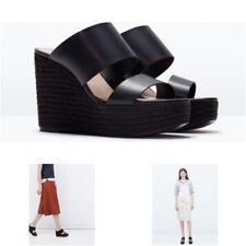 NWT Zara BLACK Wedge HIGH HEEL SANDALS Shoes - US 8 /UK 6 / EU 39