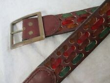 Harness House vintage 70s cordovan steerhide leather suede boho hippie belt 38