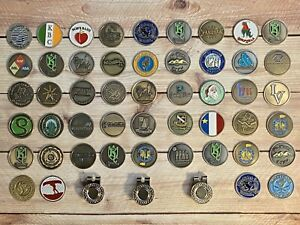 Collection Lot Of 52 - (49 Golf-Ball Markers), (3 Hat Clips)