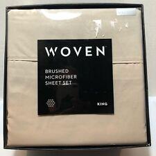 Malouf Woven Brushed Microfiber King Sheet Set  Driftwood Tan Grey