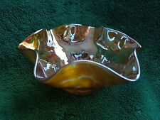 Vintage hand crafted amber print with matalic inside, free form glass dish
