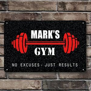 Personalised home Gym sign, fitness motivational room A4 Metal door Sign