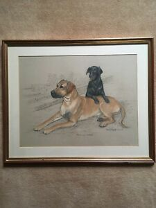 Sheila Excell Pastel Study of a Great Dane and Black Labrador - signed 1984.