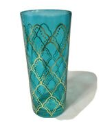 Vintage MID CENTURY Turquoise & Gold Drinking Glasses Barware Moroccan Heavy
