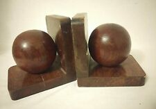 Vintage Pair Carved Wood Sphere Balls Orbs Book Ends