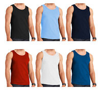 MENS VESTS 100% Cotton TANK TOP SUMMER TRAINING GYM TOPS PACK PLAIN S-2XL