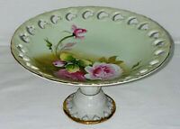 "Lefton GREEN HERITAGE *PINK ROSES* 7"" RETICULATED COMPOTE #2274"