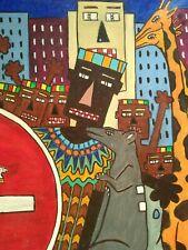 Tableau naif, animaux. Huile Sur Toile. Collectif D'Art Africain. Années 80.