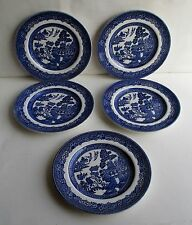 """5 Johnson Brothers """" Willow"""" Saucers Made in England"""