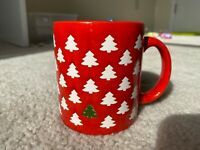 RARE Wachtersbach Christmas Tree Farm Mug Red With White & Green Trees