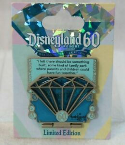 Disney DLR LE Pin 60th Anniversary Diamond Countdown #1 Blue Teal Walt Quote