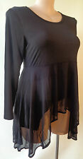 EVERSUN new top Black dipped hem size 12 NWT long sleeves
