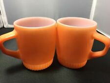 Fire King 2 Mugs Anchor Hocking Orange Coffee Tea Oven Ware 1960's Decor Vintage