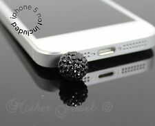 BLACK CRYSTAL BALL MOBILE PHONE IPHONE IPAD IPOD CHARM EARPHONE JACK DUST PLUG
