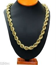 "14K Gold Plated Hollow Necklace Rope Chain 36"" Inch Length Thick 14mm"