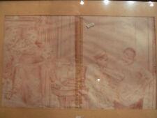 ancien dessin a la sanguine metier garcon cadre 1900