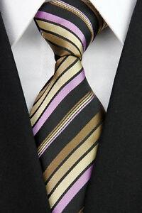 Hand Woven 100% Pure Silk Neck Tie  Black & Shades of Brown & Purple  Stripes