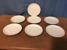 7 Johnson Brothers Regency Ironstone Saucers White Swirl England. LOW SHIP