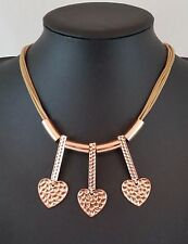 Multi Row Light Brown Cords Rose Gold Hammered Hearts Necklace Lagenlook Jewelle