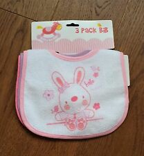 Baby Infant Bibs Pink Purple Bunny Rabbit Clothing Protector Feeding set of 3