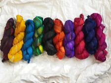 10 Skeins Mixed lot Recycled pre dyed ribbon yarn craft crochet project colors