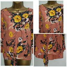 New Ladies M&S MARKS & SPENCER Ladies Tunic Top Blouse Coral Yellow Floral 10-16