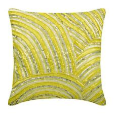 Decorative 20x20 inch Yellow Pillow Cover, Silk Sequins Beads - Pearly Yellow