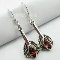"925 Sterling Silver Red Facetted Garnet Dangle Earrings 1.6"" Fashion Jewelry"
