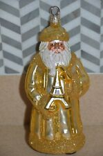 Rare Patricia Breen Eiffel Tower Paris French Gold Santa Holiday Glass Ornament