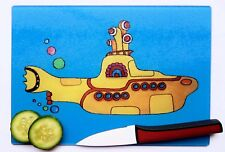 Unique Blue Glass Beatles inspired Yellow Submarine Chopping Board by Maria Moss