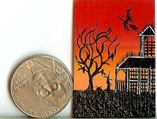 New Listing1x1.5 Inch Original Dollhouse Painting Haunted House Fantasy Fun Whimsical Hymes