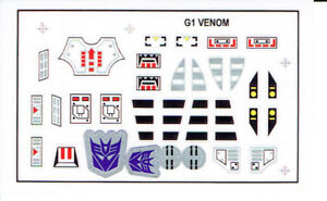 TRANSFORMERS GENERATION 1, G1 DECEPTICON VENOM REPRO LABELS / STICKERS