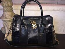 Michael Kors Mixed Media Black Haircalf Leather EW Hamilton Satchel Bag NWT $358