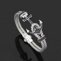 Anil Arjandas White Gold Plated Anchor Men's Bangle Bracelet Luxury North Skull