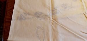 Vintage Floral Stamped to Embroider BELGIAN LINEN Tablecloth TAGS BEIGE 78x 58