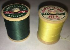 Vintage Coats and Clark's Sewing Nylon in Green and Yellow on Wood Spools