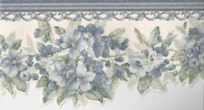 Wallpaper Border Die Cut Edge Blue and Green Floral Violets with Scroll Molding